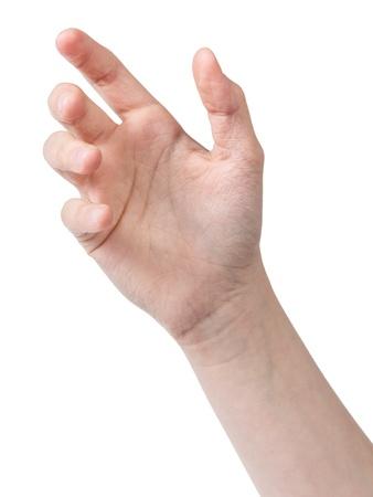 mano femminile adolescente di tenere qualcosa come telefono, isolato su bianco Archivio Fotografico