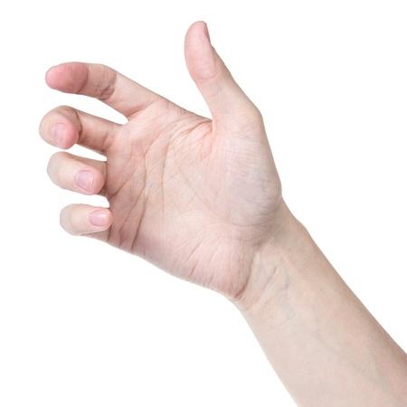 alzando la mano: hombre adulto mano para sostener algo as? como tel?fono, aislado en blanco