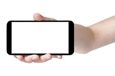 female teen hand showing generic touch device, isolated in white with white screen photo
