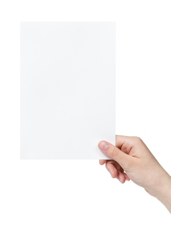 female teen hand holding blank paper a5 sheet, isolated on white Stock Photo - 19158321