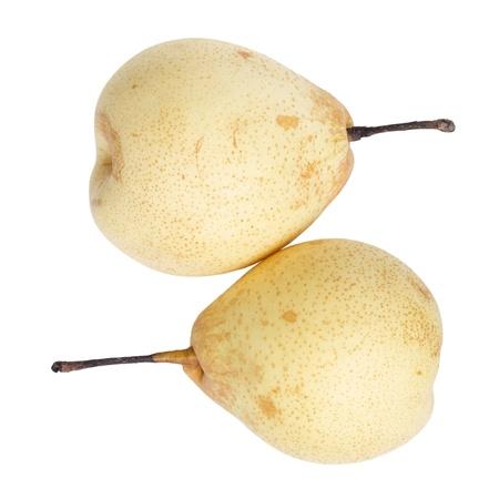 two whole nashi pears, isolated on white background photo