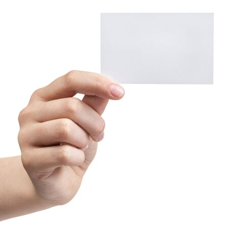 female teen hand holding blank visiting card, isolated on white photo