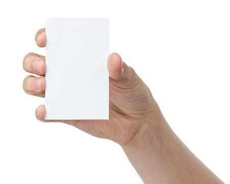 female teen hand holding blank paper card with two fingers, isolated on white photo