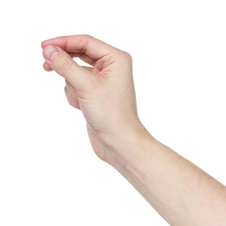 adult man hand to hold something flat, isolated on white