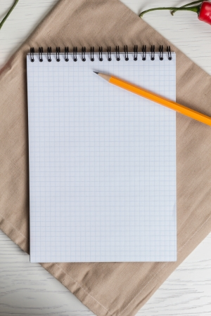 template for recipie note or shopping list, with notepad and pencil photo