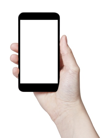 female teen hand holding generic touch device, isolated in white with white screen photo