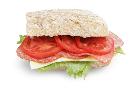 big sandwich with salami cheese tomato and salad leaves on ciabatta bread, isolated photo