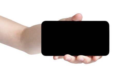 female teen hand showing generic touch device, isolated in white with black screen photo