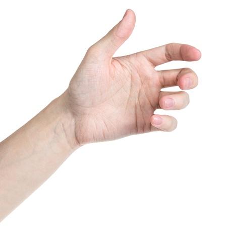 volwassen man de hand om iets als telefoon vast te houden, geïsoleerd op wit