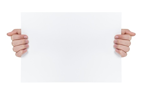 two female teen hands showing blank paper sheet, isolated on white photo