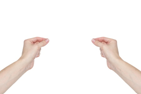 two adult man hands to hold or show something, isolated on white photo