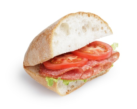 italian sandwich with salami, isolated on white photo