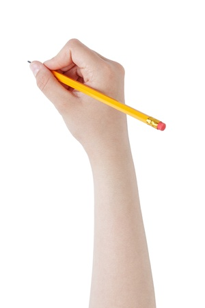 female teen hand holding pencil with eraser top, isolated on white photo