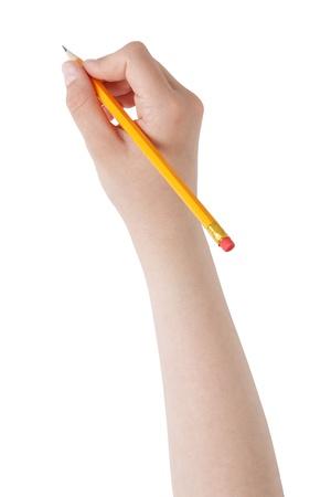 weiblichen Teenager Hand Bleistift mit Radiergummi oben, isoliert auf weißem