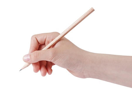 female teen hand holding natural wood pencil, isolated on white
