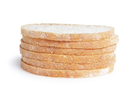 slices of fresh italian ciabatta bread, isolated on white photo