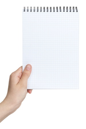 female teen hand holding notebook on a spring to write something, isolated photo
