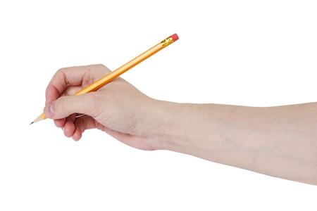 Erwachsenen Mann Hand schreiben etwas mit Bleistift, isoliert auf weiß Standard-Bild - 20079429