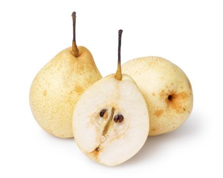 three whole nashi pears, isolated on white background Stock Photo