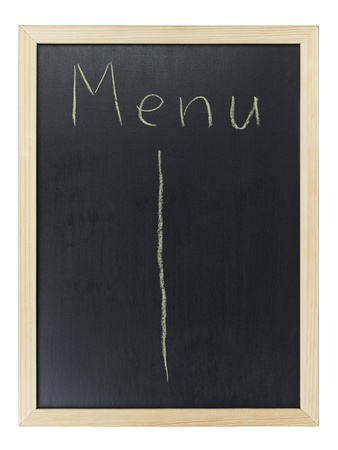 Menu writing on blackboard, isolated on white photo