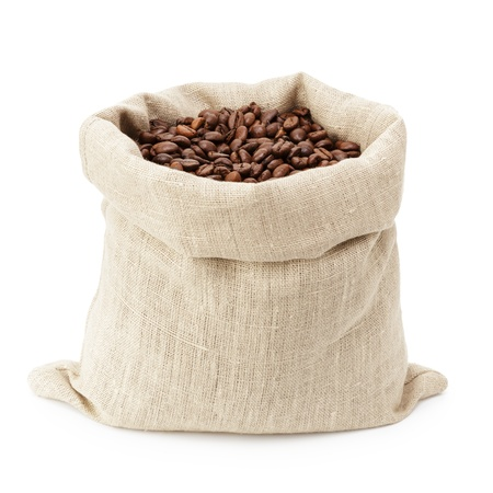 sack bag full of roated coffee beans, isolated on white photo