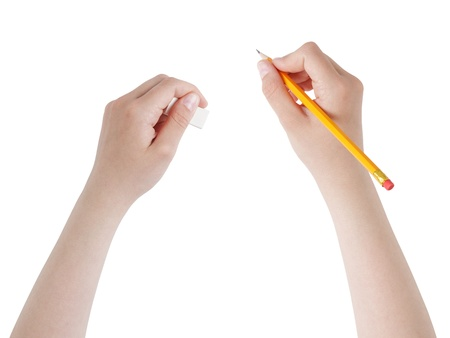 female teen hands with pencil and eraser, isolated photo