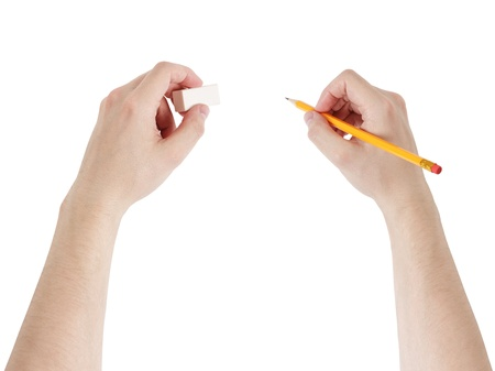 adult man hands with pencil and eraser, isolated photo