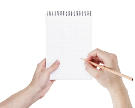 adult man hands writing something in notepad, isolated photo