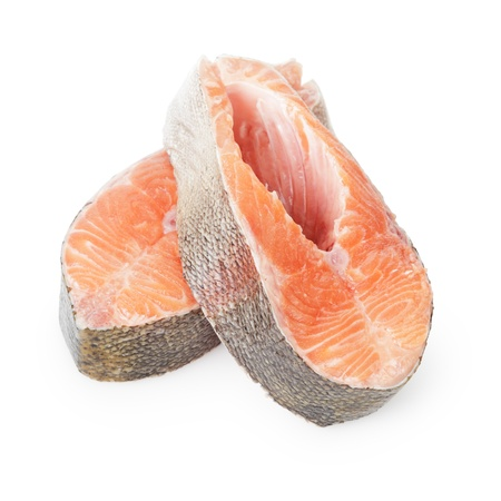 two fresh trout steaks, on white background photo