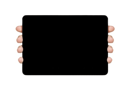 female teen hand holding generic tablet pc with black screen, isolated photo