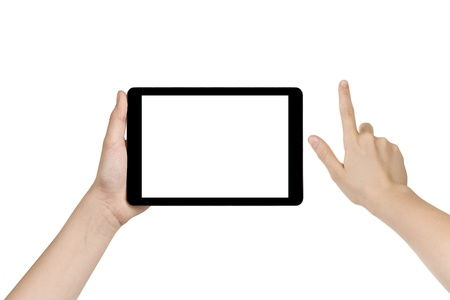 female teen hand holding generic tablet pc with white screen, isolated photo