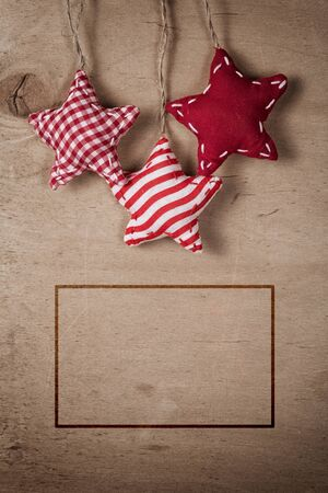 christmas vintage decorations hanging on string, background photo