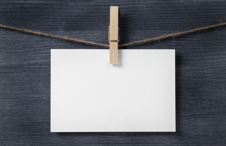paper card hanging on the rope, blank Stock Photo - 21830983