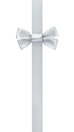 silver ribbon bow border, isolated on white