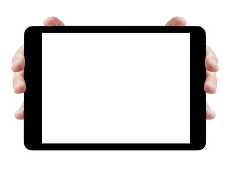 female teen hands showing generic tablet pc with blank screen, isolated photo