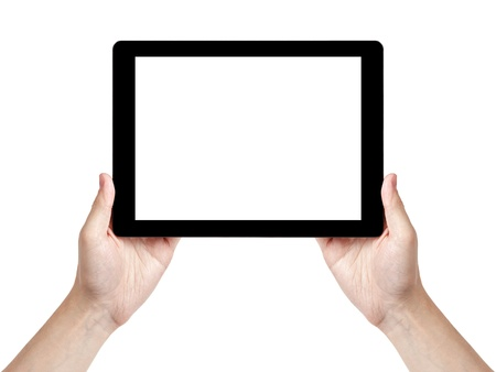 adult man hand holding generic tablet pc with white screen, isolated photo