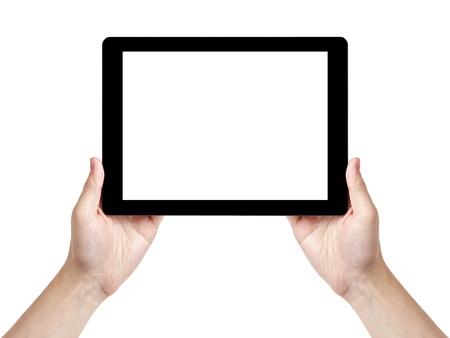 erwachsenen Mann Hand generischen Tablet PC mit weißen Bildschirm, isoliert