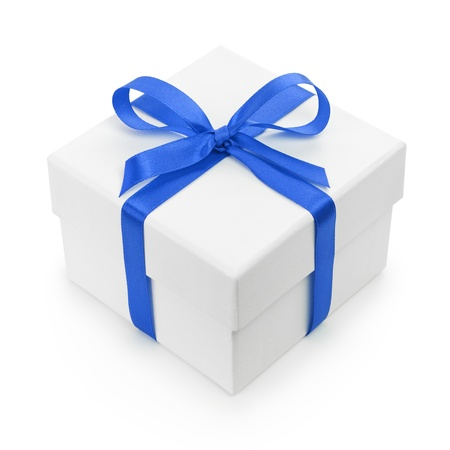 white textured gift box with blue ribbon bow, isolated on white photo