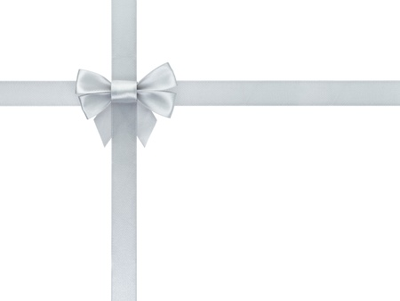 silver ribbon bow composition, isolated on white Stock Photo