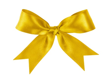 yellow ribbon: gold festive tied bow made from ribbon, isolated on white Stock Photo