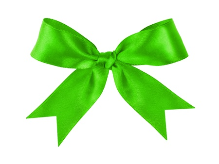 green festive tied bow made from ribbon, isolated on white photo