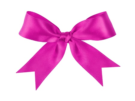 purple festive tied bow made from ribbon, isolated on white photo