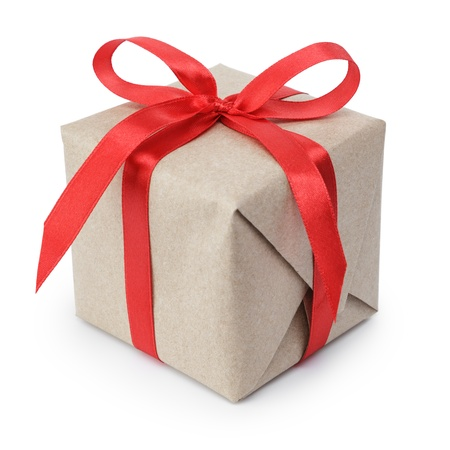 small gift box wraped in recycled paper with ribbon bow, isolated