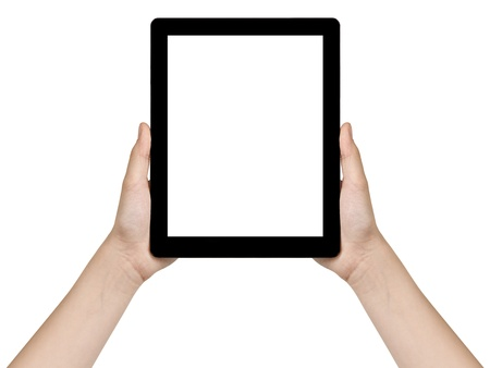 female teen hands holding generic tablet pc with blank screen, isolated photo