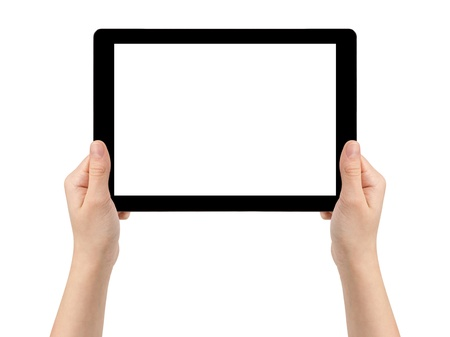 ereader: female teen hands holding generic tablet pc with blank screen, isolated Stock Photo