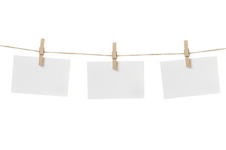 paper cards hanging on the rope, isolated photo
