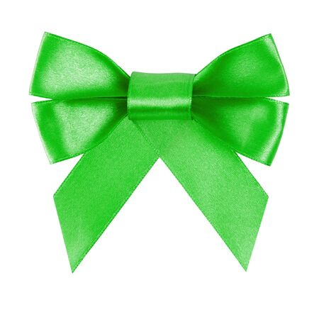 green festive bow made from ribbon, isolated on white photo