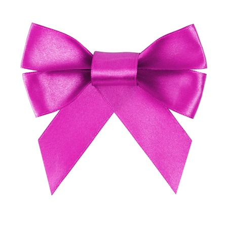 purple festive bow made from ribbon, isolated on white photo