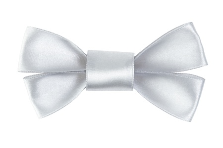 silver festive bow made from ribbon, isolated on white