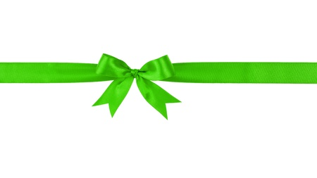 green handmade ribbon with bow, isolated on white photo